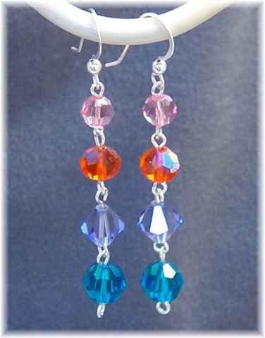 Long Dangle Earrings in Jewel Tone Swarovski Crystals & Sterling Silver