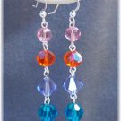 Long Dangle Earrings in Jewel Tone Swarovski Crystals & Sterling Silver