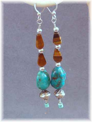 Tigereye Turquoise & Sterling Earrings - Southwest Look