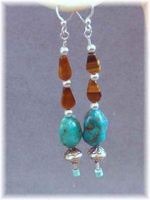 Tigereye Turquoise & Sterling Earrings - Southwest Look