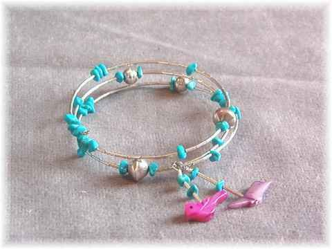 Turquoise Sterling Silver Coil Bracelet Fetish Charms