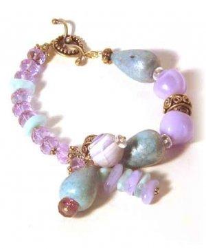 Vintage Redux Turquoise & Lavender Asymmetrical Bracelet
