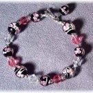 Black & Pink Lampwork & Swarovski Crystal Bracelet
