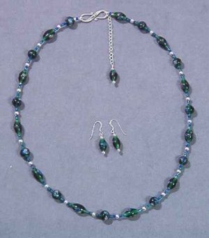 Adjustable Green & Blue Necklace & Earrings Set - Lampwork & Silver