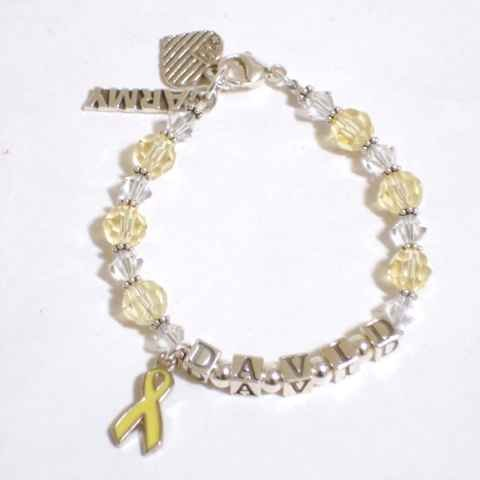 Military Spouse Bracelet with Yellow Ribbon & Patriotic Charms