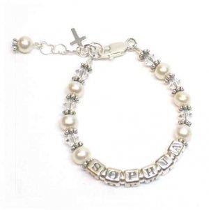 Baby Freshwater Pearl Christening Name Bracelet