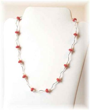 Freshwater Pearl, Coral & Sterling Silver Necklace