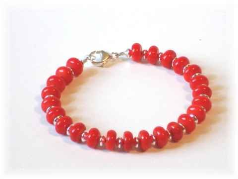 Coral  & Sterling Silver Bracelet or Anklet