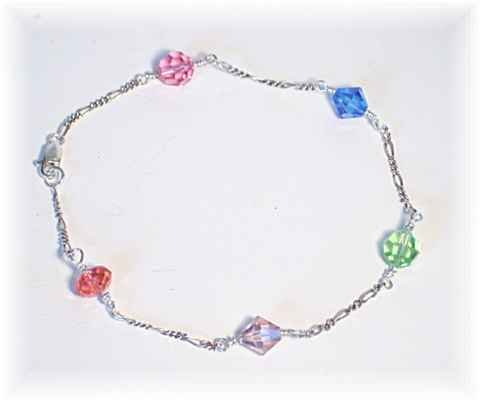 Swarovski Crystal and Sterling Silver Ankle Bracelet