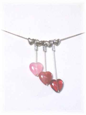 Dangling Hearts and Sterling Silver Necklace