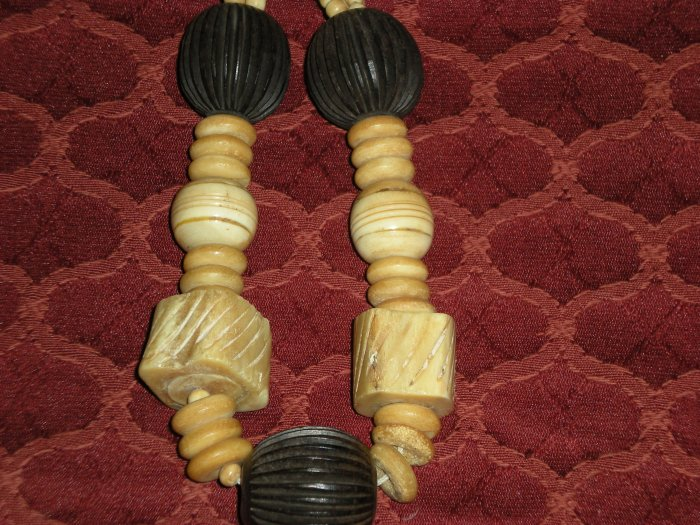 Chunky Bone Carved and Wood Necklace