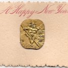 Victorian Calling Cards- Metal Charm - New Year&#39;s Greeting