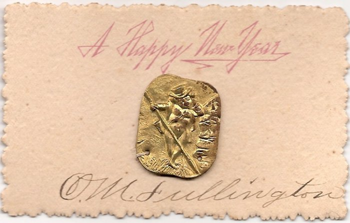 Victorian Calling Cards- Metal Charm - New Year's Greeting - Hand Signed