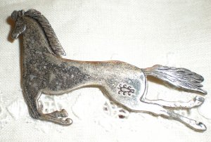 Sterling Silver Galloping Horse Pin