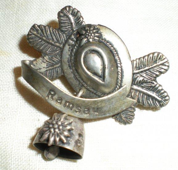 """WW I Era """"Ramsau"""" Hat Souvenir Pin"""