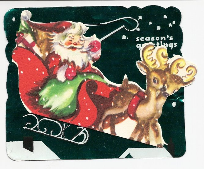 1940s  Foil Christmas Greeting