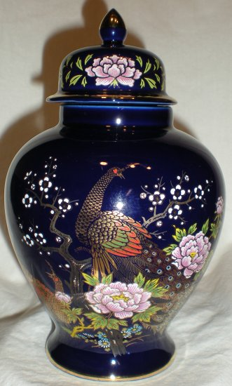 Vintage Peacock Cobalt Blue Ginger Jar