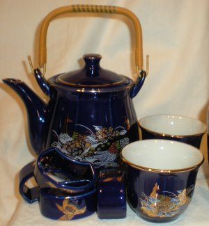 Vintage Cobalt Blue Tea Set