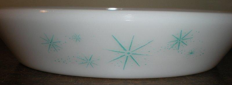 Vintage Glasbake Starlight Pattern Divided Bowl
