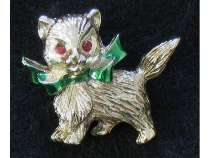 Kitten Gold-tone Pin, Green Enamel Bow, Kitty Cat