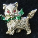Kitten Gold-tone Pin, Green Enamel Bow, Kitty Cat