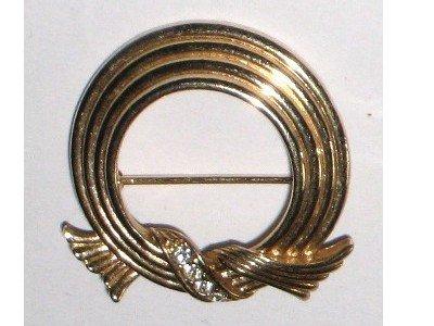 Gold tone Round Pin, Signed Avon, Rhinestones, Ridged