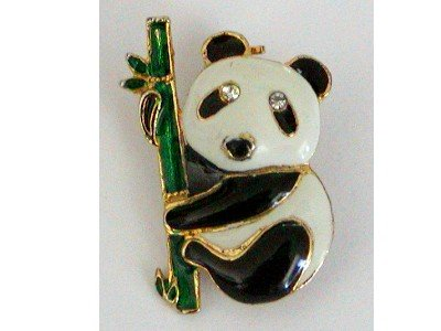 Enamel Panda Bear on Bamboo Stalk Pin, Rhinestone Eyes