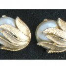 Signed Sarah Coventry Imitation Pearl, Gold tone Flower Clip Earrings,