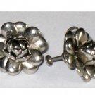 Vintage Silver tone Flower Earrings, Screw Back