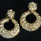 Gold tone Nugget Hoop Clip Earrings