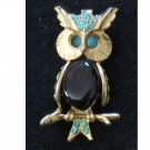 Owl Pin, Turquoise-tone & Polished Stones, Gold tone Bird