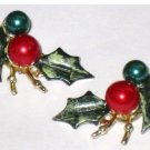 Vintage Christmas Holly Earrings, Screw Back
