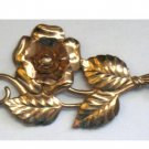 Vintage Sterling Silver Long Stem Rose Pin, Copper Wash