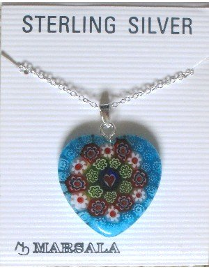 NEW Marsala Heart Necklace, Millefiori-type, Sterling Silver Chain