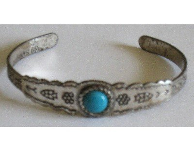 Vintage Sanford Silver-tone Bracelet, Indian-motif