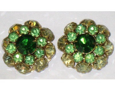 Judy Lee Signed Green Rhinestone Round Clip Earrings