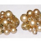Trifari Imitation Pearl Cluster Earrings Clip On Champagne Color