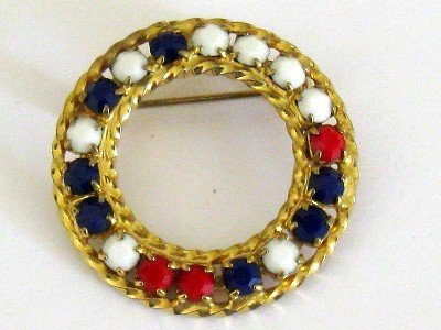 Red, White, Blue Circle Pin, Faceted Beads, Gold tone Frame, Like New