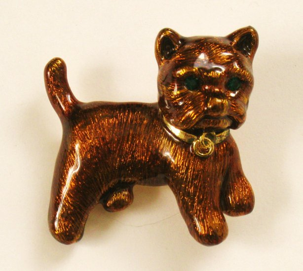Cute Brown Enamel Dog Pin, Green Rhinestone Eyes, Terrier?