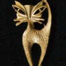 Gold tone Cat Pin, Matte Textured