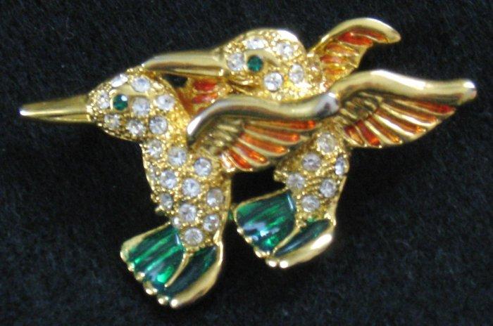 Hummingbird Pin, Rhinestones, Enamel, Gold tone