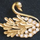 Graceful Swan Pin, Rhinestone, Gold tone Bird