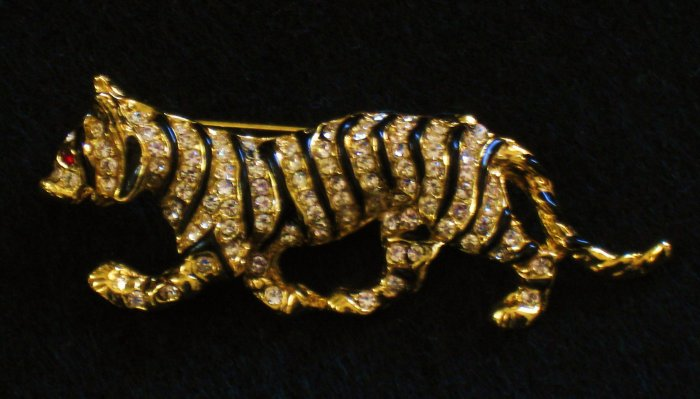 Rhinestone and Black Enamel Tiger Pin, Gold tone