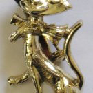 Happy Cat Pin, Polished Gold tone Finish