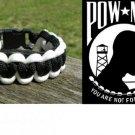 8 Inch Black & White (POW/MIA) Paracord Bracelet