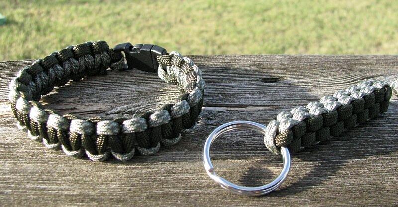 9 Inch ACU & OD Paracord Bracelet & Key Chain