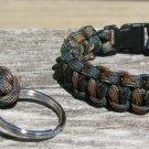 9 Inch Woodland Camo Paracord Bracelet & Key Chain