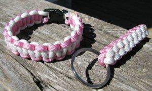 8 Inch Pink & White Paracord Bracelet & Key Chain