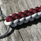 Burgundy & White Paracord Key Chain