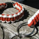 8 Inch Orange & White Paracord Bracelet & Key Chain